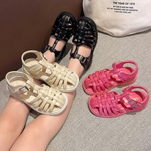 2021 Child Sandals Baby Girls Toddler Soft Non slip Princess Shoes Candy Jelly Beach Shoes Kids Casual Hollow out Roman Slippers