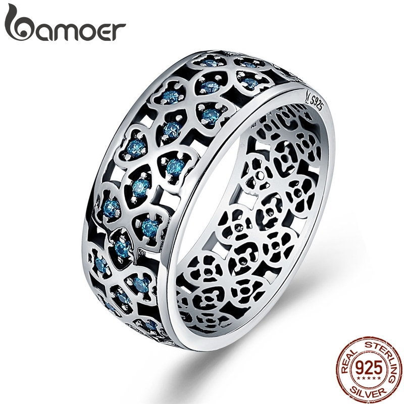 BAMOER 100% 925 Sterling Silver Petals of Love Sweet Clover Blue CZ Finger Rings for Women Engagement Jewelry S925 Gift SCR064(China)