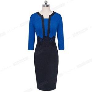 Image 4 - Güzel sonsuza kadar zarif dantel Patchwork ofis vestidos İş Bodycon kadın elbise B569