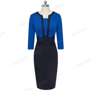 Image 4 - Nice forever Elegant Lace Patchwork Office vestidos Business Work Bodycon Women Dress B569