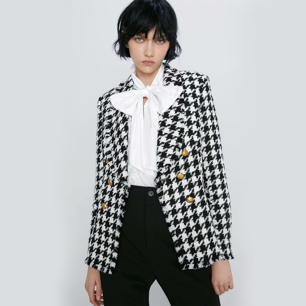 2020 ZA Plaid Suit Women Blazers Autumn Winter Newly Wild Jacket Casual Double Breasted Office Party Coat Temperament Wholesale