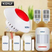 KERUI حماية المنزل نظام إنذار السلامة اللاسلكية وامض صفارات الإنذار 433 MHz مستشعر الباب مستشعر الأشعة تحت الحمراء نظام إنذار بسيط صفارات الإنذار