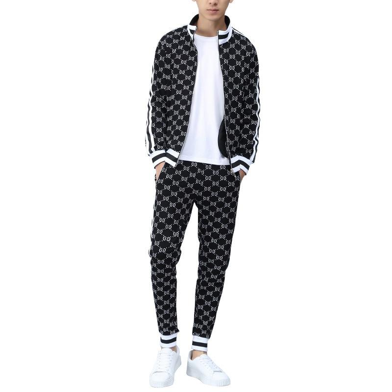 2020 New Fashion Zipper Sets+Long Section Sets Men  2 PCS Suits Casual Tshirt Men Tracksuits Brand Clothing Tops Tees Set Male