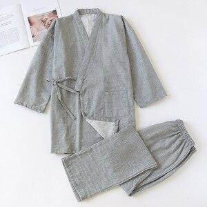 Image 3 - طقم كيمونو منزلي للأزواج من القطن 100% بلون واحد ياباني ملابس نوم رجالية ونسائية برقبة على شكل حرف v بيجاما ربيعية رفيعة ملابس نوم للاستلقاء