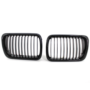 2Pcs Gloss Black Front Bumper Hood Kidney Grille Racing Grille Replacement for BMW 3-Series E36 M3 1997-1999 image