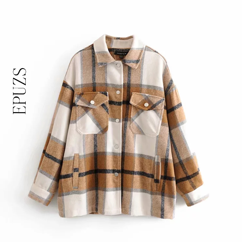 Plaid Coat Outwear Winter Jacket Long-Sleeve Khaki Green Casual And Mujer Thick Chaqueta title=