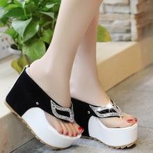 Lucyever Womens Summer Shoes Woman Rhinestone Flip Flops Spuer High heels Wedges Platform Fashion Beach Sandals Zapatos Mujer