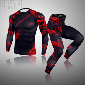 3-piece sets Compression Suits Men's Quick Dry set Clothes Sport Running MMA jogging Gym work out Fitness Tracksuit clothing 21