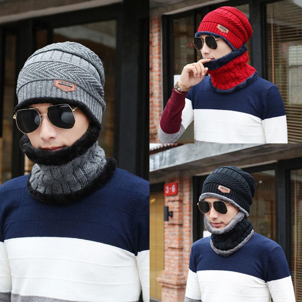 Winter Unisex Reversible Beanie Knit Ski Cap Hip-Hop Warm Couple Hat + Scarf - (2 Pcs/set) Black,Grey,Blue,Red