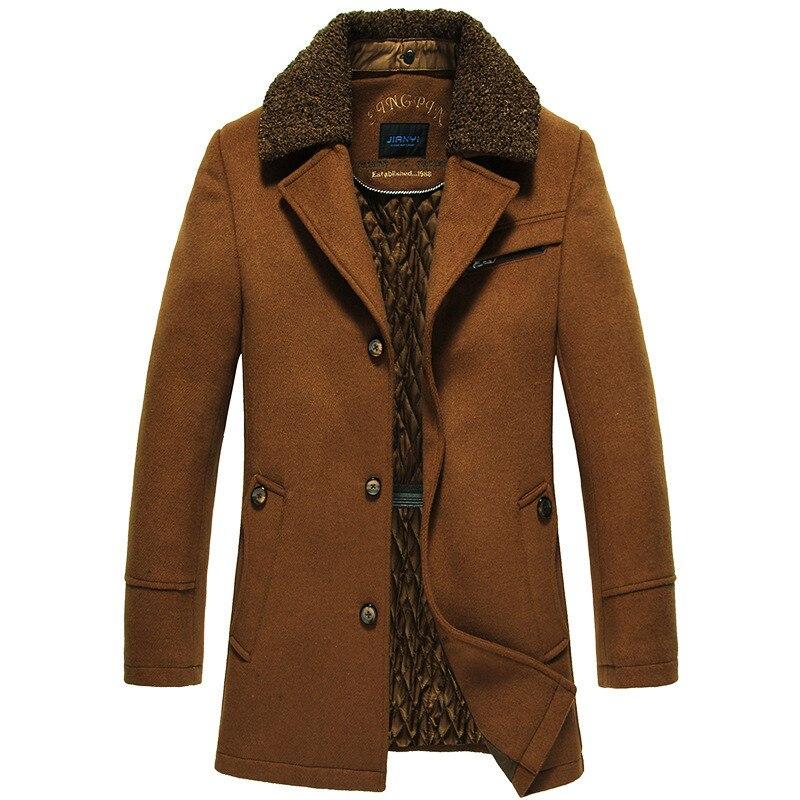 Jacket Mens Long Woolen Coat Warm Windbreaker Winter Coat Korean Version Jaqueta Masculino Streetwear Camel Wine Thick Clothes