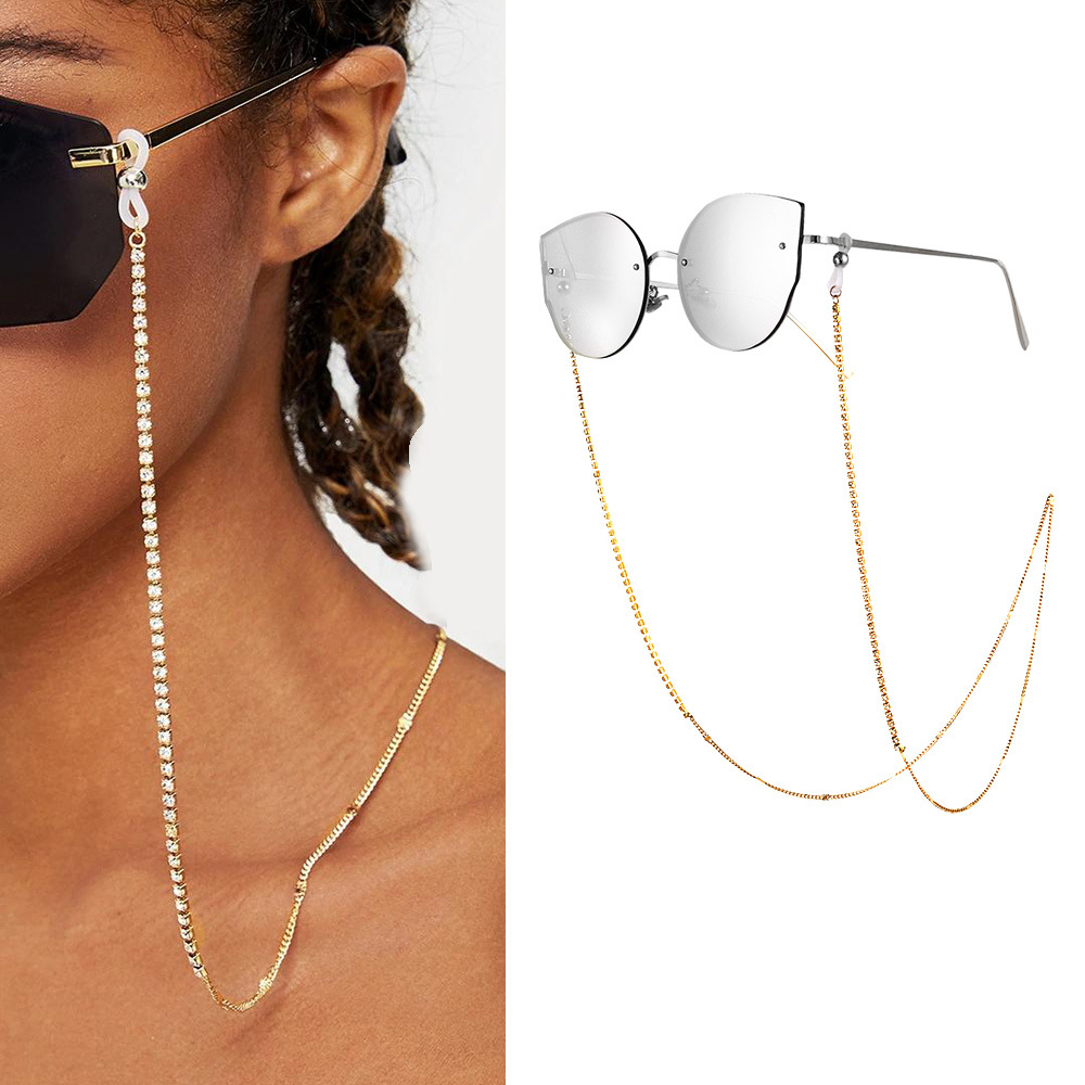 Fashion Women Gold Link Chain Pearl Beads Glasses Chains Silicone Eyeglasses Cord Crystal Sunglasses Necklace Band Accessories