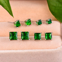 Cute Female Small 4/5/6/7mm Square Earrings 100% Real Sterling Silver Stud Earrings Fashion White Blue Green Earrings For Women(China)