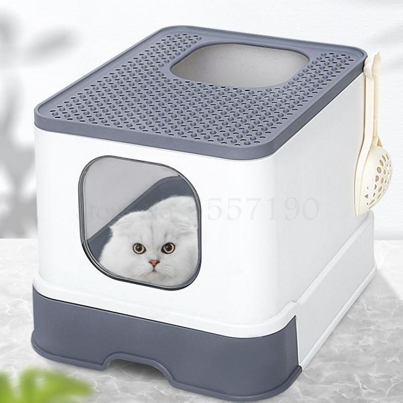 Fully Enclosed Cat Litter Box Large Anti-spatter Drawer Top Into Cat Toilet Deodorization Extra Large Oversized Cat Supplies(China)