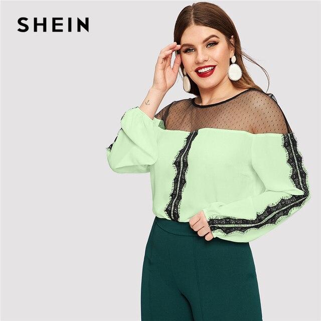 SHEIN Dot Contrast Mesh Lace Insert Colorblock Top Plus Size Elegant Blouses 2019 Women Spring Bishop Sleeve Top Blouse 2