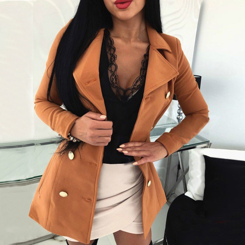 LASPERAL New Style Women Coat Solid Color Slim Buttons Jacket Casual Femme Long Sleeve Jacket Suit Blazers Ladies Tops Clothes