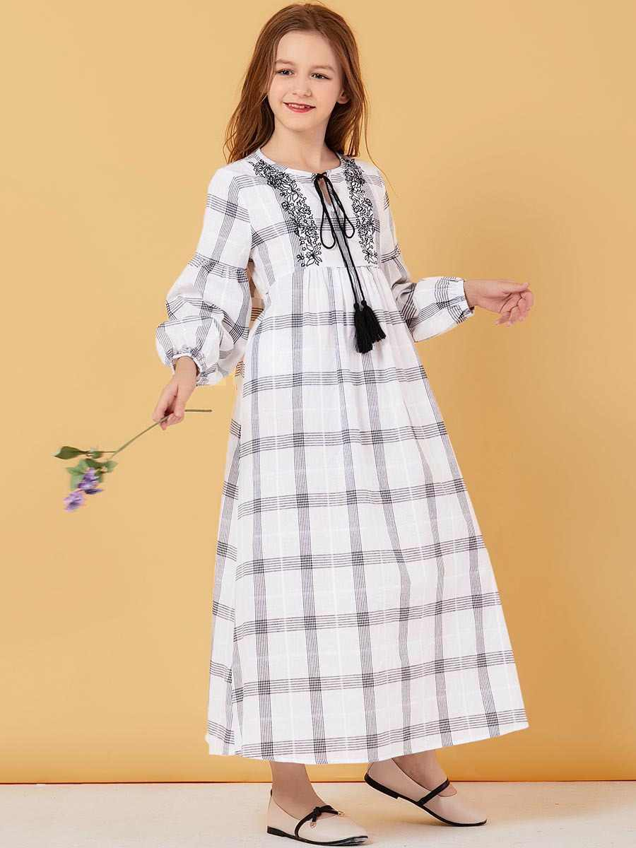 Bambini Bianco Abaya Dubai Turchia Bangladesh Plaid Vestito Da Musulmano Per La Ragazza Abiti Maxi Caftano Turco Abbigliamento Islamico 2020 Abiti