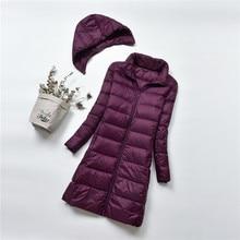 Зимний ультра легкий пуховик с капюшоном для женщин, большие размеры 4xl, длинное пальто, женские пуховики, пальто Campera Mujer