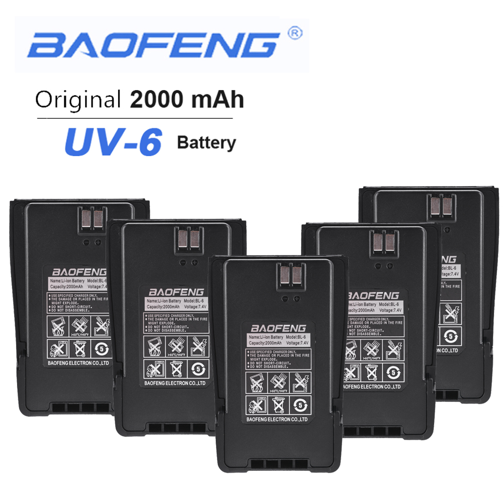 5PCS Original BaoFeng UV-6 Two Way Radio 7.4V 2000mAh Rechargeable Replacement Battery Pack For Baofeng UV-6 UV-6D Walkie Talkie
