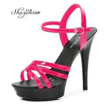 Shuzumiao Women Sexy Show Sandals 13 CM Platform Color Sandals Girls Shoe Party striptease Club Drop Sale Cross-tied Buckle Shoe