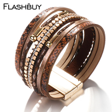 Flashbuy Leopard Multilayer Leather Bracelets For Women Fashion Snakeskin Pattern Gold Chain Wrap Female Bangles