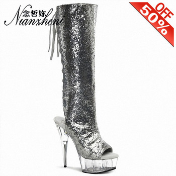 6 Inch Shoes Woman Heels  Platform Heels Crystal Silver Bling Knee Boots Rosy Red 15Cm Sexy Shoes Vestidos De Fiesta De Noc Show