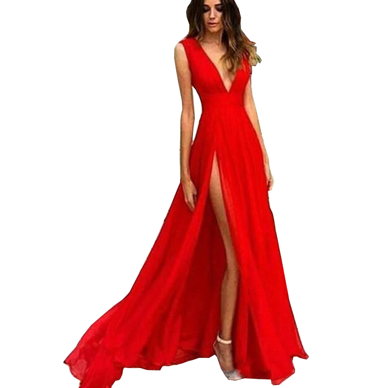 Sexy Long Evening Dresses 2020 A-line Deep V-Neck Sleeveless Chiffon High Split Red Evening Gown Prom Party Dress