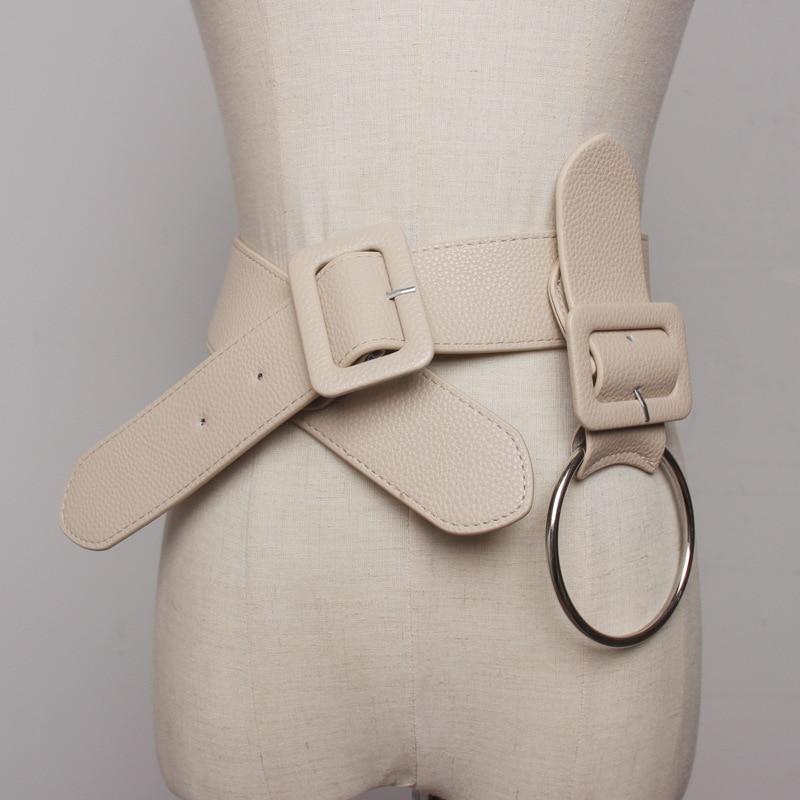 Vintage Women Clothing Faux Leather Waist Belt Female Fashion Big Round Buckle Wide Belt Long Pu Leather Belts For Shirt Dress