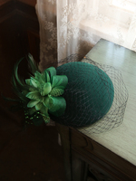 Vintage Pure Wool Fedora Cap Women Mesh Flower Feather Wedding Hat Headwear Elegant Ladies Green Red Winter Autumn Pillbox Beret
