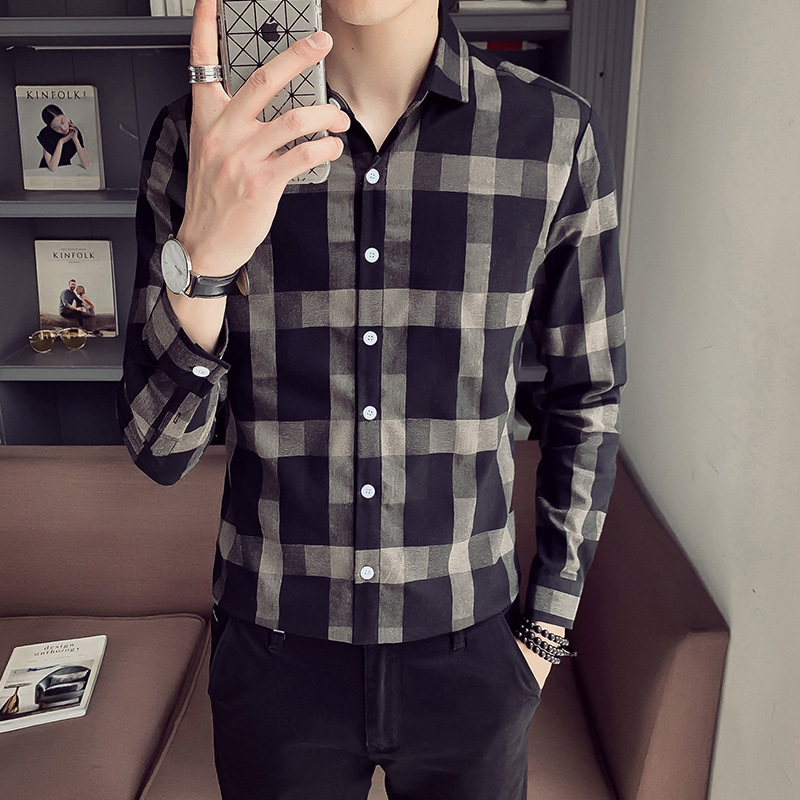 Men's Shirt 2020 Spring New Handsome Wild Retro Plaid Long Sleeve Slim Long Sleeve Shirt Youth Personality Fashion Men's Wear