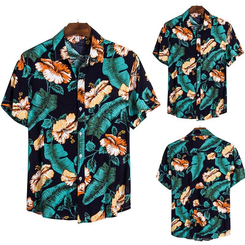 Sandy Beach Short Sleeve Shirt Male Leisure Time Shirt Hawaii On Vacation Flower Shirt Male Tide Cs134