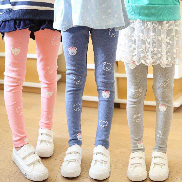 Vidmid Girls Spring And Autumn Bear Cotton Leggings New Korean Version Children's Casual Bottoming Pants Trousers Cothes P206 2