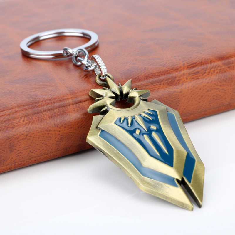 משחק LOL דמדומים אלת ליי אונה מגן Keychain ליגת אגדות נשק תליון Keyring Porte מפתח