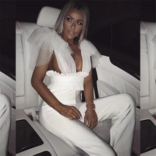 Yesexy 2019 Solid Color Mesh Deep V Neck Women Overalls High Waist Sleeveless Elegant Rompers Jumpsuits FT19439