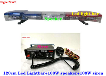 120cm DC12V 60W Led car warning light bar strobe lights car emergency lightbar+100W speaker+100W amplifiers,waterproof