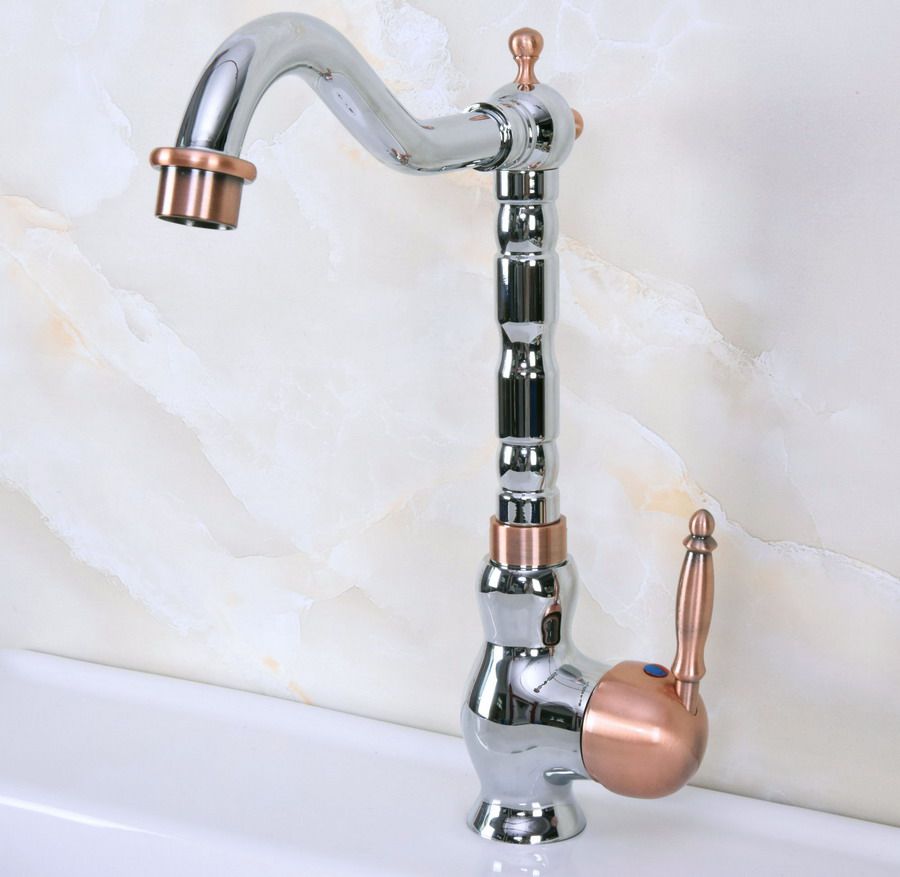 Polished Chrome Antique Red Copper Brass Single Handle One Hole Bathroom Basin Kitchen Sink Swivel Spout Faucet Mixer Tap Mnf909