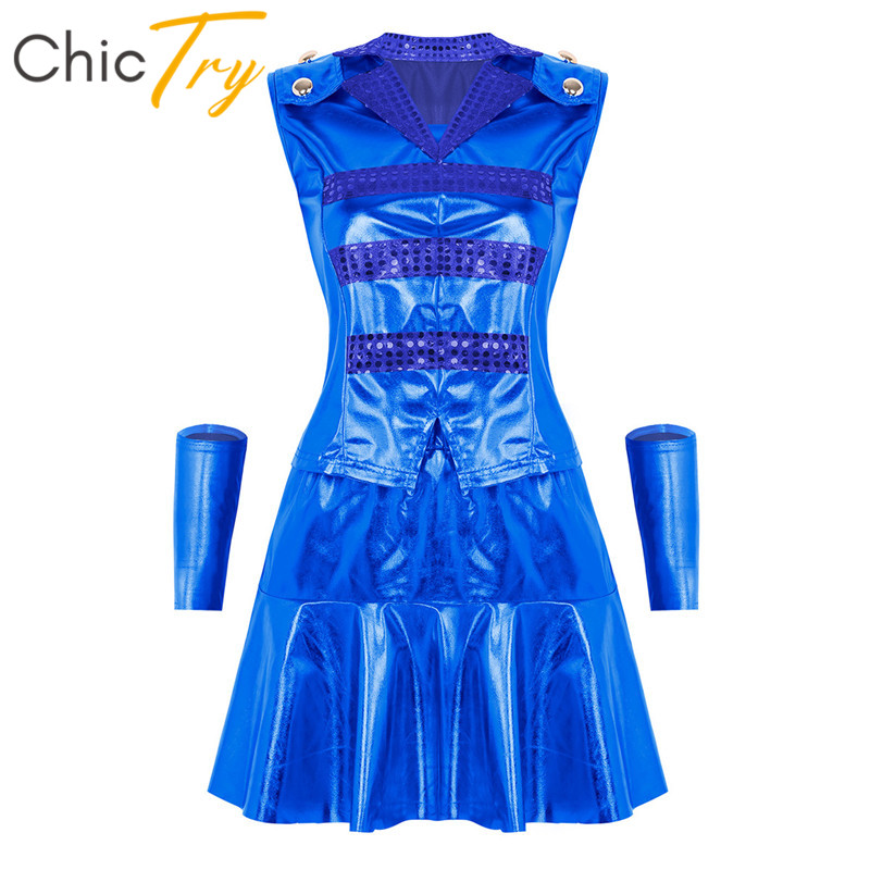 ChicTry Women Shiny Metallic Stage Performance Hip Hop Jazz Dance Costume Tops With Skirt Wristbands Outfits Street Dancewear