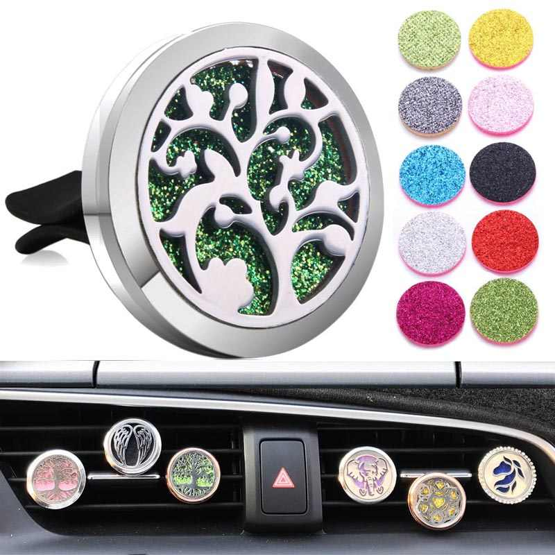 アロマジュエリーツリー車の空気ディフューザーステンレス鋼ベント清浄車エッセンシャルオイルディフューザー香水ネックレスロケット