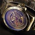 Shenhua мужские часы  модные винтажные часы  мужские автоматические механические часы с ремешком из нержавеющей стали  мужские часы со скелето...