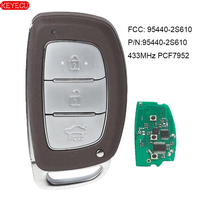 KEYEC 2PCS Smart Remote Car Key Fob 433MHz PCF7952 For Hyundai IX35 2013-2015 FCC: 95440-2S610