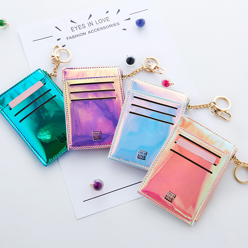 2019 New Coin Purse Fashion Solid Color Key Card Multifunction Mini Wallet Women Clutch Pillow Designer Small Wallet Laser Color 2