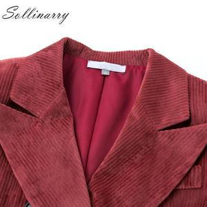 Image 5 - Sollinarry, двубортные модные пальто, куртки для женщин, осень, зима, красные вельветовые куртки, элегантные, женские, OL, тонкая верхняя одежда, Ретро стиль