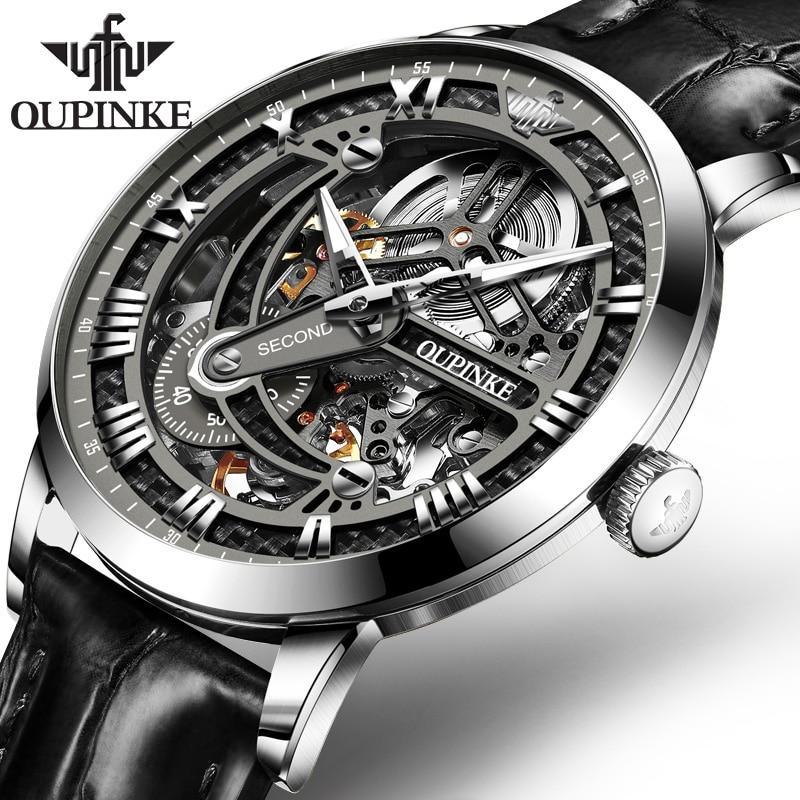 Tourbillon Skeleton Watch Rolexable Watch 2019 New OUPINKE Top Brand Sport Mechanical Watch Men Automatic Watch Men Reloj Hombre