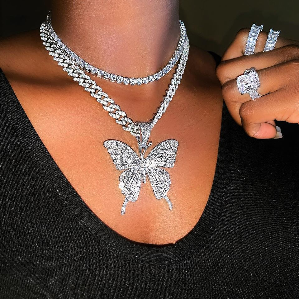 KMVEXO Pink Clear Crystal Butterfly Pendant Charm Miami Curb Cuban Chain Hip Hop Necklace Rapper Gift Rock for Men Women Jewelry