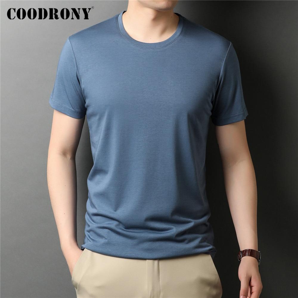 COODRONY брендовая Высококачественная летняя крутая футболка, Классическая однотонная модная повседневная хлопковая Футболка с круглым вырез...