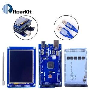 """Image 1 - 무료 배송! 3.2 """"TFT LCD 터치 스크린 디스플레이 320X240 ILI9341 + 3.2 인치 쉴드 + 메가 2560 R3 Arduino 키트 용 usb 케이블 포함"""