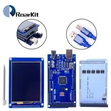 """شحن مجاني! 3.2 """"TFT LCD شاشة تعمل باللمس عرض 320X240 ILI9341 + 3.2 بوصة درع + ميجا 2560 R3 مع كابل يو اس بي لعدة اردوينو"""