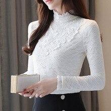 Autumn blouse women 2019 ladies tops long sleeve balck lace blouses blusas slim plus size solid stand harajuku 0335