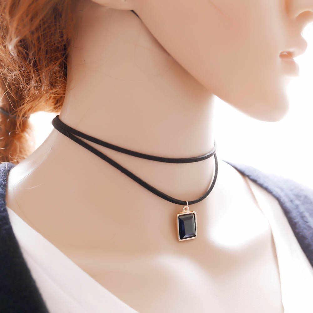 Doppel Schicht Halsketten Schwarz Rot Und Blau Wildleder Platz Retro Strass Anhänger Frauen Colliers