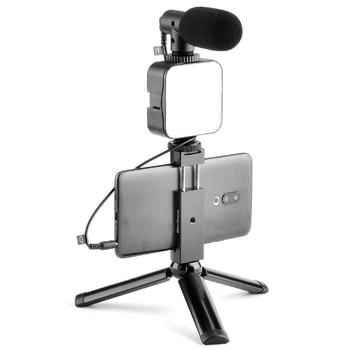 Kit Vlogging, accesorios de Video para teléfono, trípode, luz LED, micrófono de escopeta para teléfono móvil, grabación para YouTube Vlog