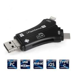 Twister. CK 4 Trong 1 Iphone/Micro USB/USB Loại C/USB SD Đầu Đọc Thẻ Cho Iphone IPad MAC & Android, SD & Micro SD, Máy Tính